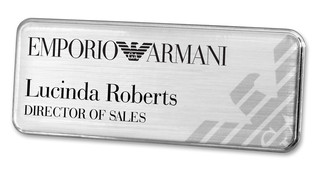 Executive Metal Badges - Silver border and brushed silver background | www.namebadgesinternational.us